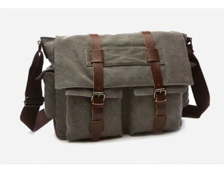 Business Messenger Bags For Men Canvas Crossbody Shoulder Pack Retro Solid Casual Office Travel Bag