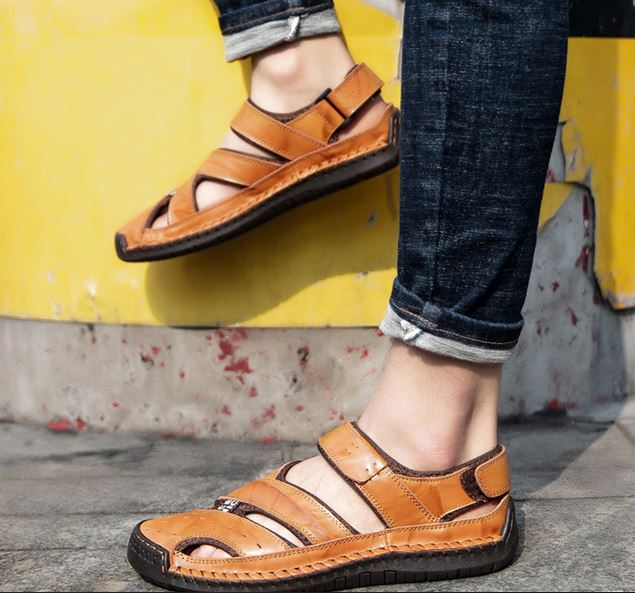 Summer Genuine Leather Handmade Outdoor Shoes Men Sandals