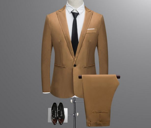Thin Brand Men Suit Fashion Solid Suit Casual Slim Fit 2 Pieces Mens Wedding Suits