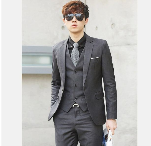 Men Wedding Suit  Fit Suits For Men Costume Business Formal Party Blue