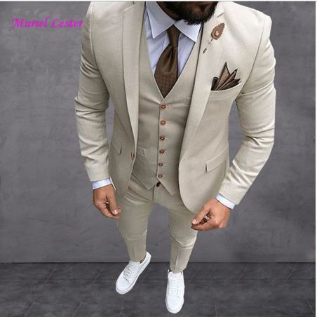 Men Suit Prom Tuxedo Slim Fit 3 Piece Groom Wedding Suits For Men Custom Blazer