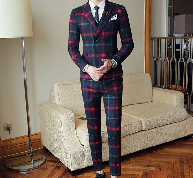 Fashion Check Suit Men Vintage Prom Banquet Suit Men Slim Fit Double Breasted Suit