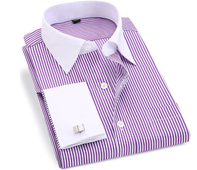 New Men's Stripes Shirt Long Sleeve Casual Male Brand Shirts Slim Fit French Cuff Dress Shirts