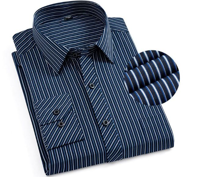 Formal Men's Striped Dress Shirts Social Turn-down Collar With Pocket Regular Fit Business