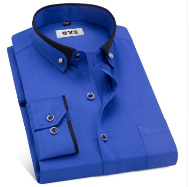 Men's Business Dress Shirts Male Formal Button-Down Collar Shirt Fashion Style Men's Casual Dress