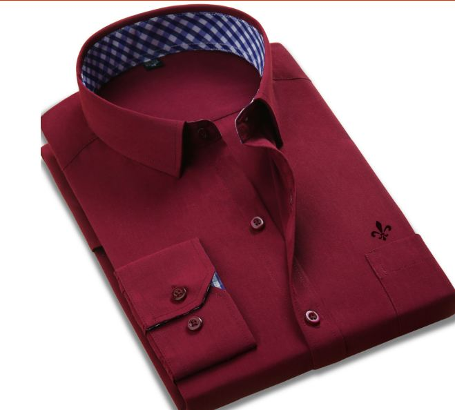 New Classical Dress Shirt Spring Autumn Long Sleeve Solid Twill Formal Business Men Social Shirts