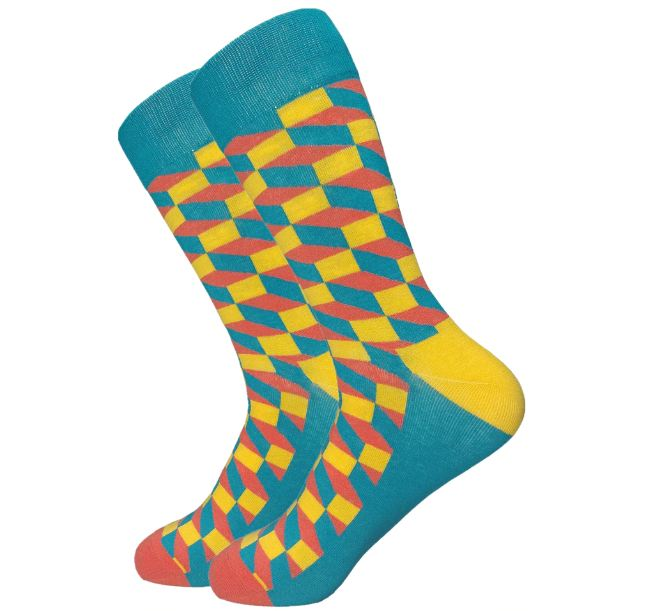 Casual Men Socks New Socks fashion design Plaid Colorful happy Business Party Dress