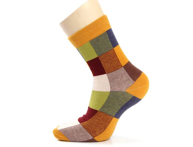 Cotton Men's Socks Compression Socks Fashion Colorful Square Happy Dress Socks