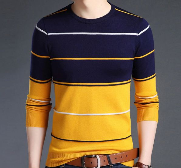 Sweater Mens Pullover Striped Slim Fit Jumpers Knitred Woolen Autumn Korean Style