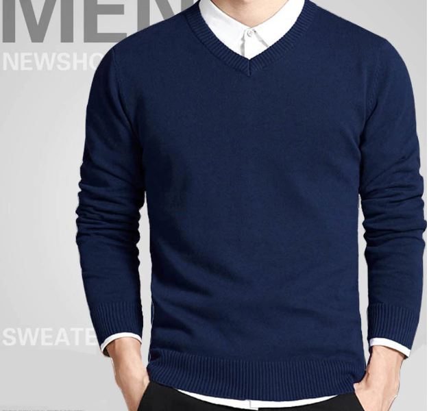 Cotton Sweater Men Long Sleeve Pullovers Outwear Man V-Neck sweaters Tops Loose Solid Fit Knitting Clothing