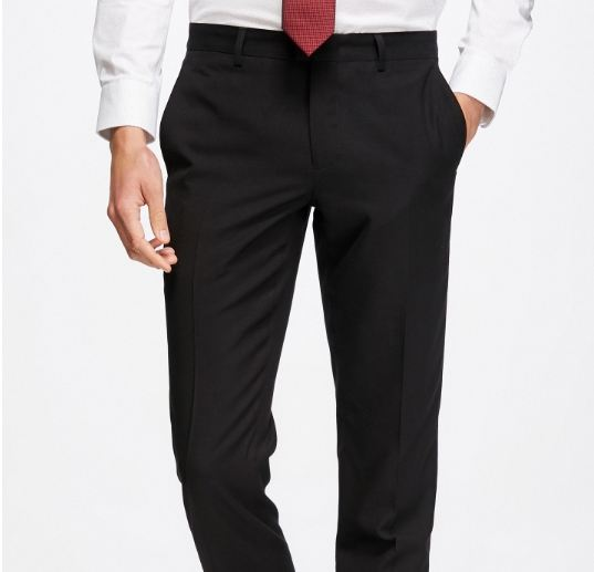 Men's Straight Fit Pure Color Slim Drapery Suit Pants