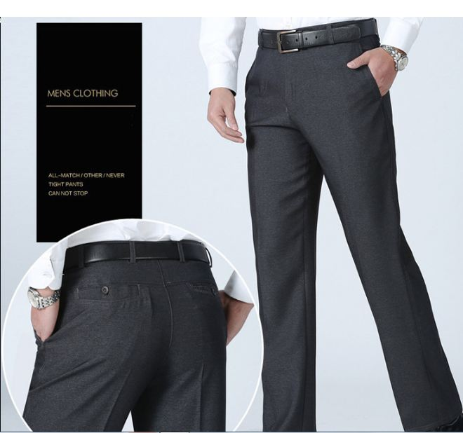 High Quality Fashion Summer Men Dress Pants Classic Business Plus Size Casual Straight Trousers Suit Pants