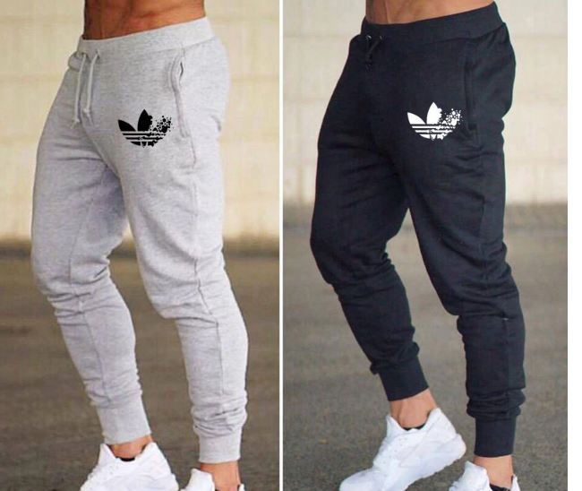 Male Trousers Casual Pants Sweatpants Jogger grey Casual Elastic cotton gyms Fitness Brand