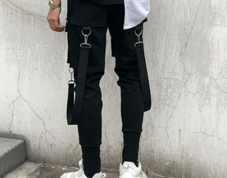 Side Pockets Pencil Pants Men's Hip Hop Patchwork Cargo Ripped Sweatpants Joggers Trousers