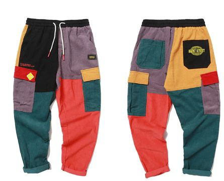 Hip Hip Pants Vintage Color Block Patchwork  Pant Streetwear Jogger Sweatpant Cotton Trousers