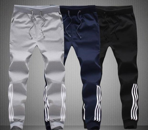 Mens Pants Fashion Skinny Sweatpants Mens Joggers Striped Slim Fitted Pants Gyms Clothing