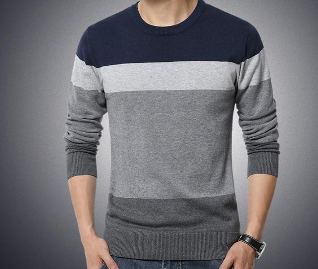 Men's Sweater O-Neck Striped Slim Fit Knittwear Mens Sweaters Pullovers