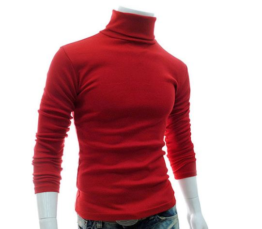 Winter Men'S Sweater Men'S Turtleneck Solid Color Casual Sweater Men's Slim Fit  Knitted Pullovers