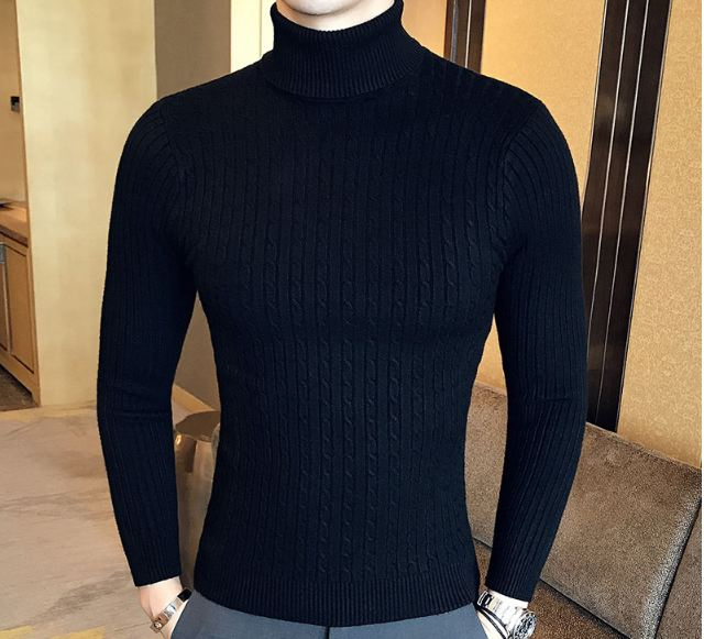 High Neck Thick Warm Sweater Men Turtleneck Brand Mens Sweaters Slim Fit Pullover Men Knitwear