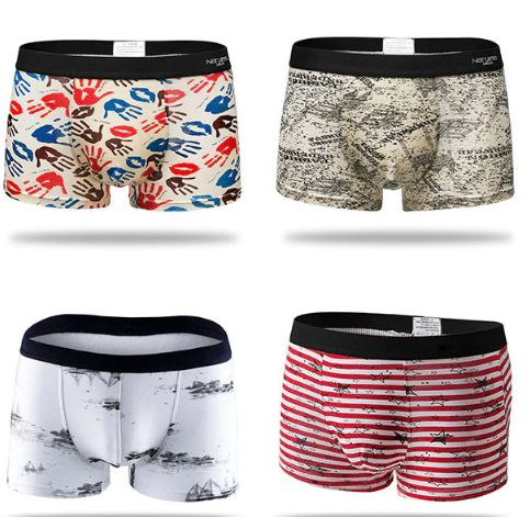 Men's Cotton Panties Boxer Male Underwear Solid Men's Shorts Breathable Underwear Striped Boxer