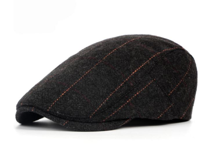 Men Cap Hats Berets British West Hera Cap Plain Advanced Wool Cap Classic Striped Vintage Beret Cap