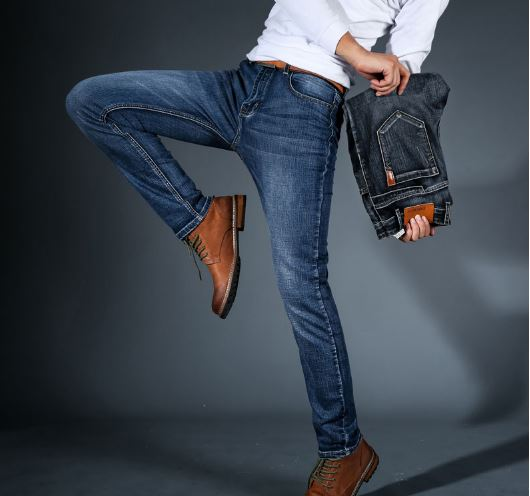 Mens Fashion Black Blue Jeans Casual Mens Slim Pants Jeans Stretch Denim Classic Trousers