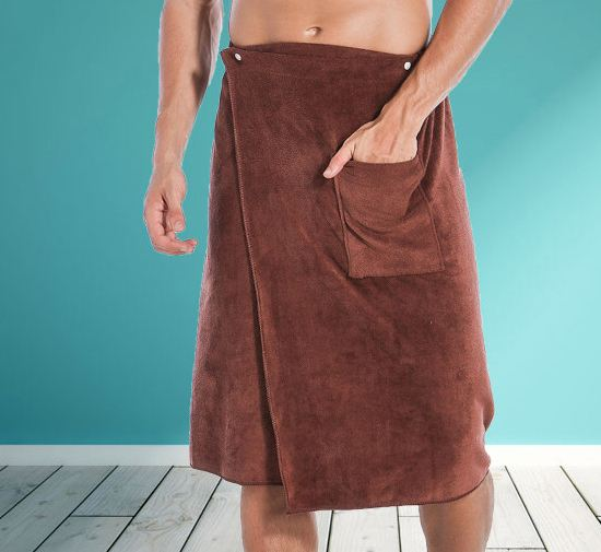 Man Wearable Magic Mircofiber BF Bath Towel With Pocket Soft Swimming Beach Bath Towel Blanket