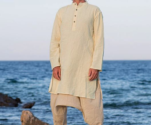 Men's Long Sleeve Cotton Shirt Longsleeve Button Middle East Long Sleeve Men's Shirts Vintage Indian Men's Kurta Suit