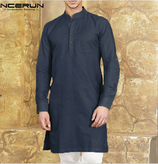 Men's Casual Shirt Long Sleeve Button Casual Men's Casual Suits Kurta Indian Cotton Solid Shirt Long