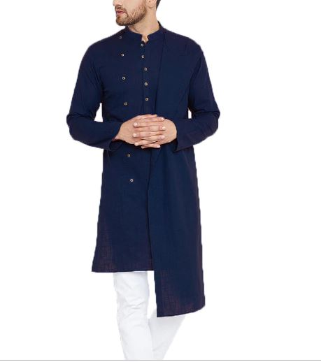 Men Long Sleeve Cotton Shirt Long Slim Fit Men's Shirt Solid Vintage Irregular Shirts Headlines Men Indian Kurta Pakistan suit