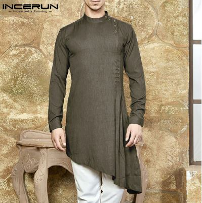 Mens Suit Shirts Indian Clothing Shirts Solid Clothing Asymmetric Hem Long Sleeve