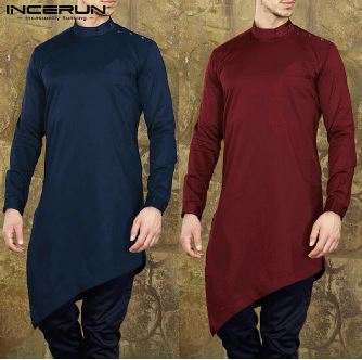 Men's Shirts Kurta Men's Long Suit Headwear Muslim Arabic Kaftan Long Sleeves