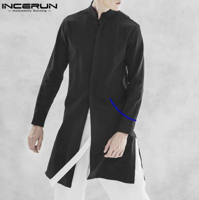 Men's Long Sleeve Shirt Neckline Streetwear Men's Solid Cotton Casual Long Shirt Men's Kurta