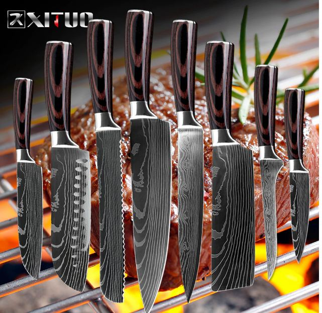 japanese kitchen knives Imitation Damascus pattern chef knife Sharp Santoku Cleaver Slicing Utility
