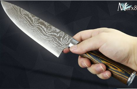 Kitchen knife Chef Knives 8 inch Japanese 7CR17 440C High Carbon Stainless Steel Sanding Laser Pattern