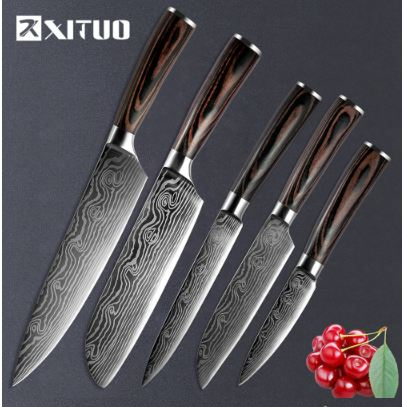 Chef Knife Japanese Stainless Steel Sanding Laser Pattern Knives Professional Sharp Blade Knife