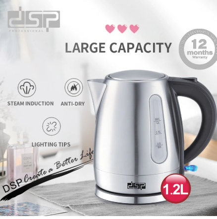 1.2L Mini Electric Kettle Stainless Steel 1850W