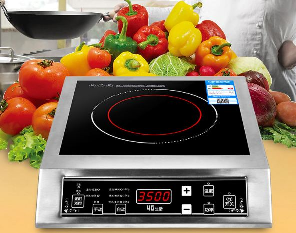 3500 W Stainless Steel Induction Cooker Black Crystal Panel Scheduled Waterproof Intelligent Temperature Regulation