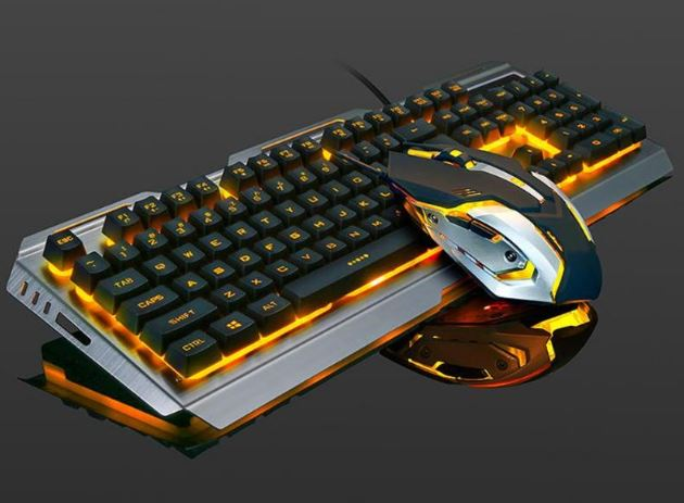 Keyboard With Wired Keyboard And Mouse Set 4000 DPI For Gamer With 7 Color Light Breath
