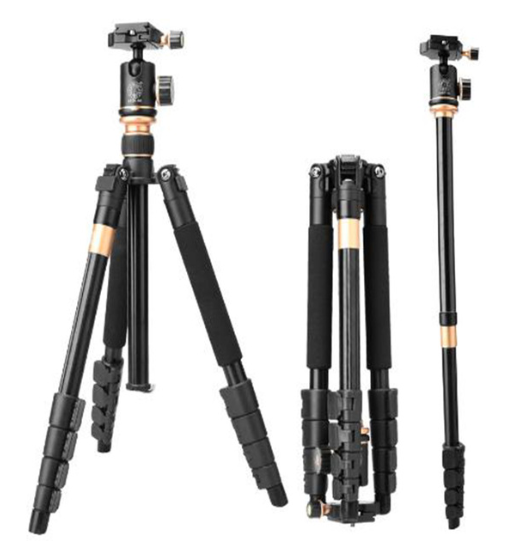DHL free shipping Qingzhuang New Q666BS professional camera tripod 148cm aluminum gold stativ for dslr digital DV camcorder