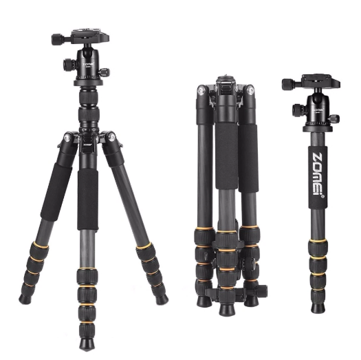 ZOMEI Lightweight Portable Q666 Professional Travel Camera Tripod aluminum/Carbon Fiber tripod Head for digital SLR DSLR camera