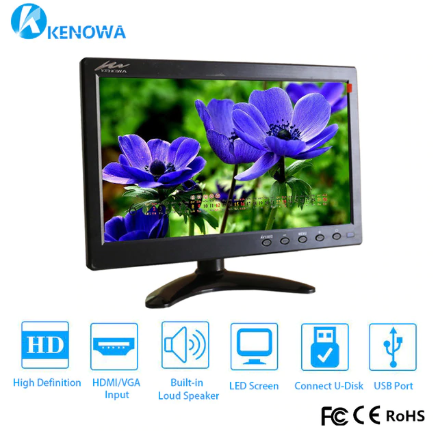 "NEW 10.1"" 1920*1080 LCD HD Monitor Mini Computer Display LED Screen 2 Channel Video Input Security Monitor With Speaker VGA HDMI"