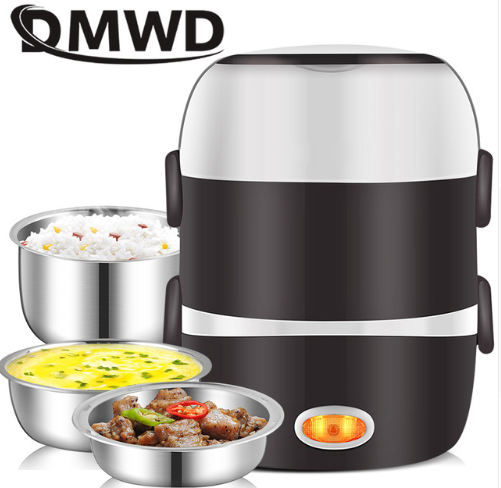 DMWD Mini Electric Rice Cooker Stainless Steel 2/3 Layers Steamer Portable Meal
