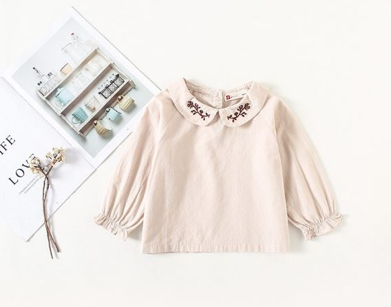 Girls Beautiful Blouse Peter Pan Collar Pure Color Shirts Girl Spring Autumn Bottoming Game Tops Off Wear