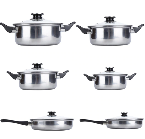 Stainless Steel Cookware 6pcs/set Pots & Pans Kitchen Home Cooking Tool