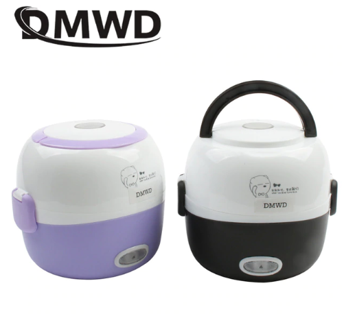 DMWD MINI rice cooker insulation heating electric lunch box 2 layers Portable Steamer