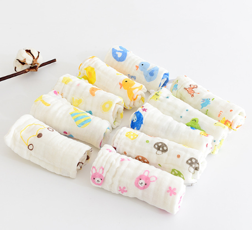 5pcs/lot Baby Handkerchief Square Fruit Pattern Towel 28x28cm