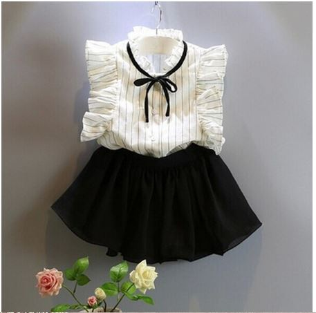Girls Dress Girls Baby Girl Striped Sleeveless Tops + Solid Skirt Outfits Defined Clothing