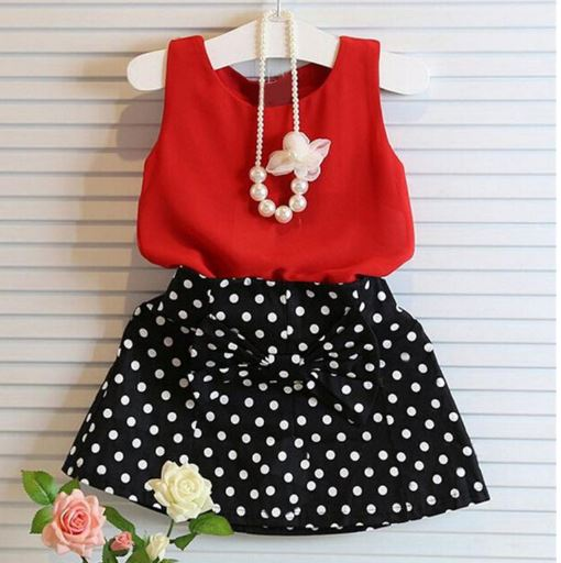 Summer 2 pcs Girls Dress Pleated Dress Two Piece Set Children Clothes Skirt Baby Girl Clothes Suit