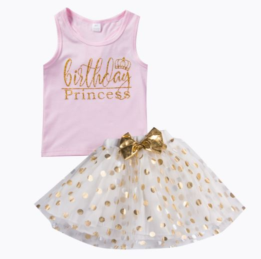Kid Baby Girl Outfit Top T-shirt Skirt Birthday Party Princess Dress Clothing Set Dress For Girls Hot Vest Mini Dress
